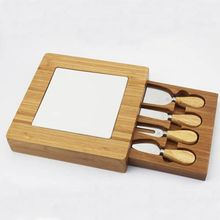 Food Grade Square Creative Bamboo Cheese Board Cheese Cutting Board With Drawer And Ceramic Pad Cheese Tool Set