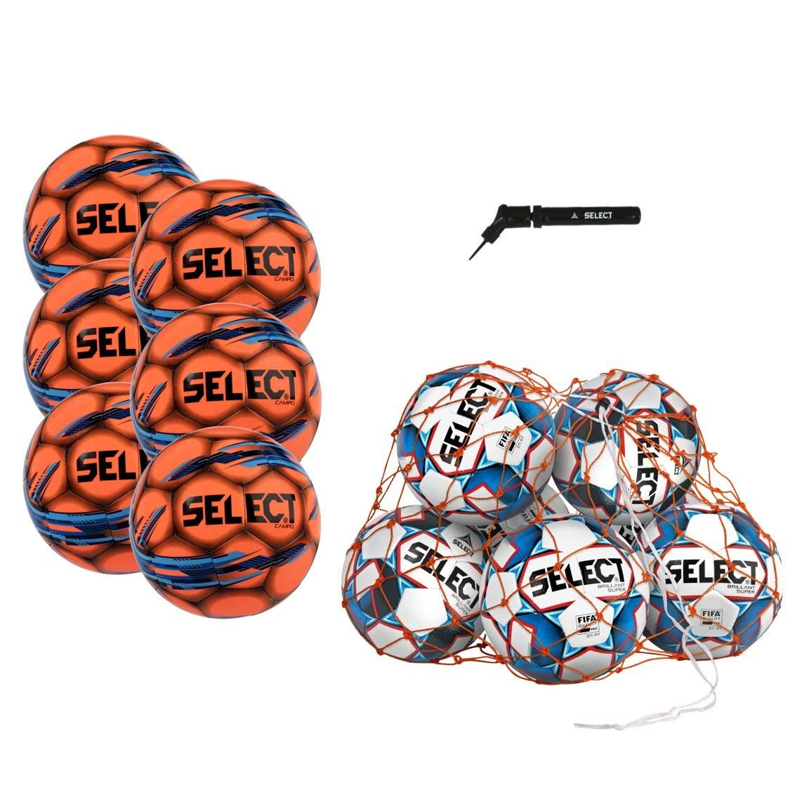 Select Campo Soccer Ball Package - Pack of 6 Soccer Balls Ball Net Hand Pump, Orange, Size 5