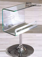 Living room glass end table with chrome steel base