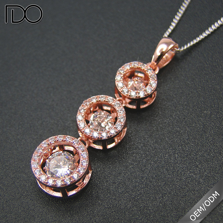 Best cost-effective dancing diamond gemstone circle fashion charm 925 cage 3 stone pendants wholesale jewelry
