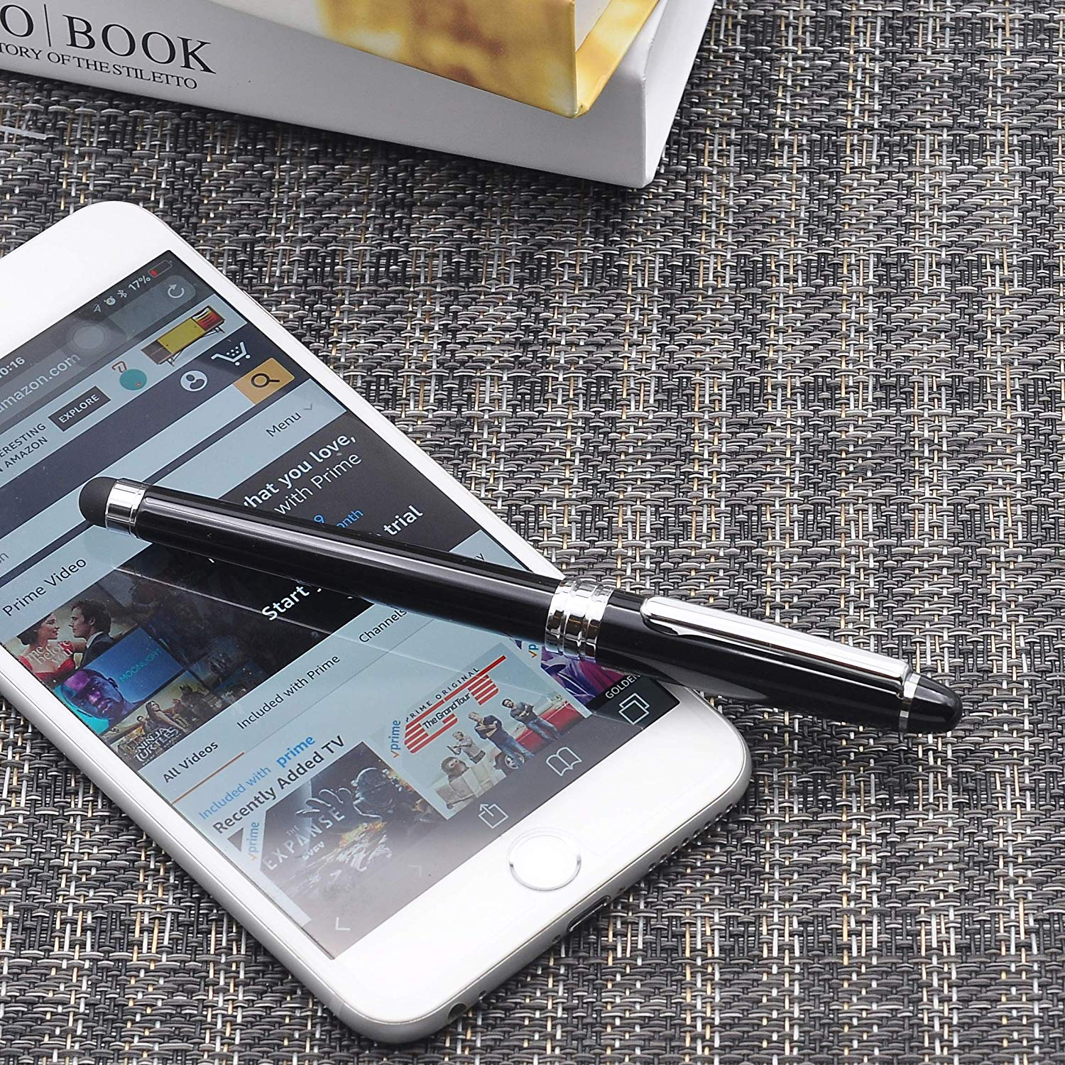 LACHIEVA Roller Pen with Touch Pen, Black Barrel, Classic Design, Germany Schneider Refill Black and Blue
