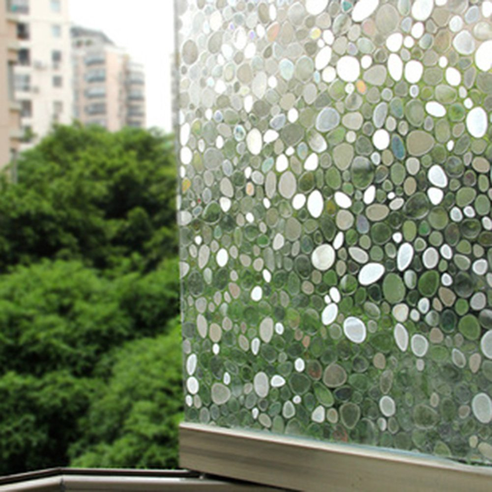 3D Privacy Window Film Decorative Window Film Non-Adhesive Static Glass Film Anti-UV for Bathroom Home Bedroom Kitchen Rainbow 23.6 by 78.8 Inch