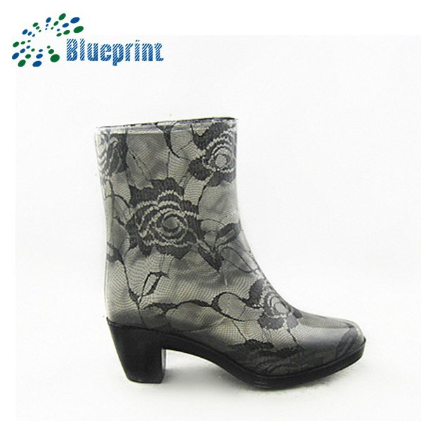 fashion beautiful flowers print half heels good quality cheap rain boots