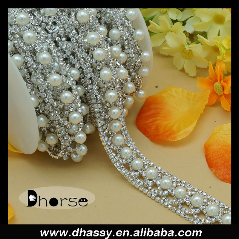DH-RE2190 Crystal Rhinestone Chain Pearls Beaded Trim For Decoration