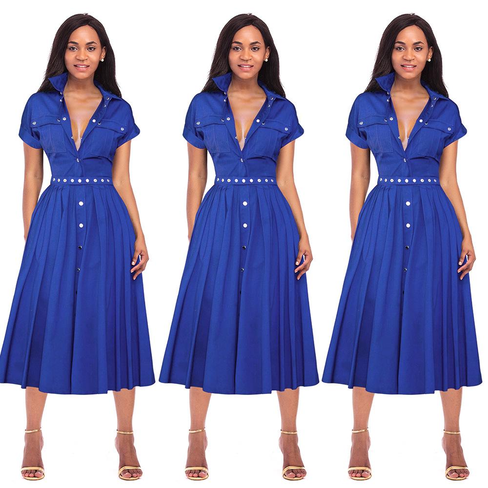 Venta Al Por Mayor Vestido Azul Rey Cortos Compre Online Los