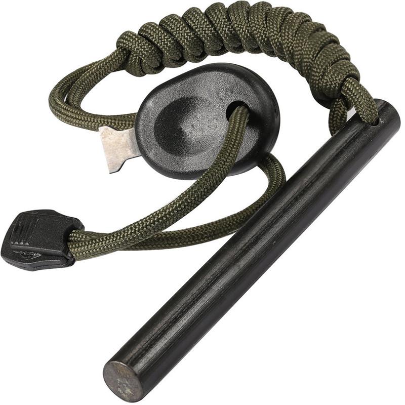 4 pollice Di Sopravvivenza Ferrocerio Forato di Fuoco Del Silice Starter Kit Asta di Ferro con Paracord Maniglia e Attacco