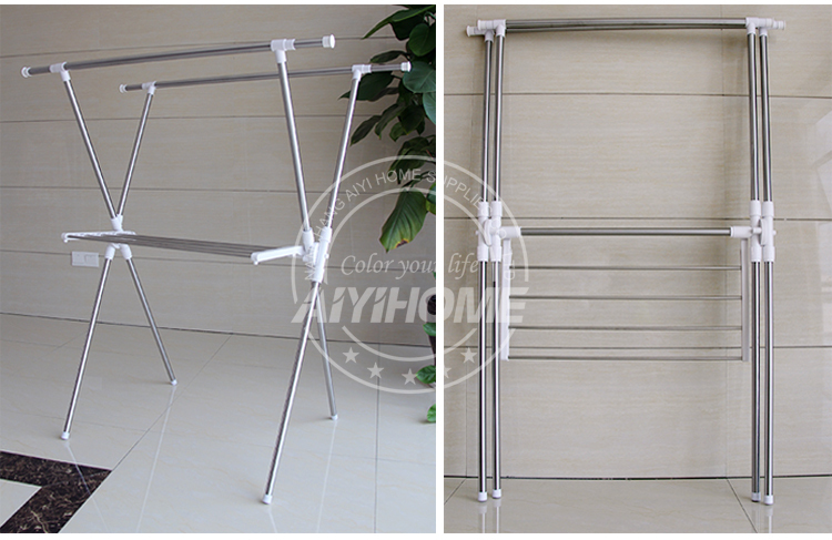Stainless Steel Laundry RackExpandable Stand Clothes Hanger Rack