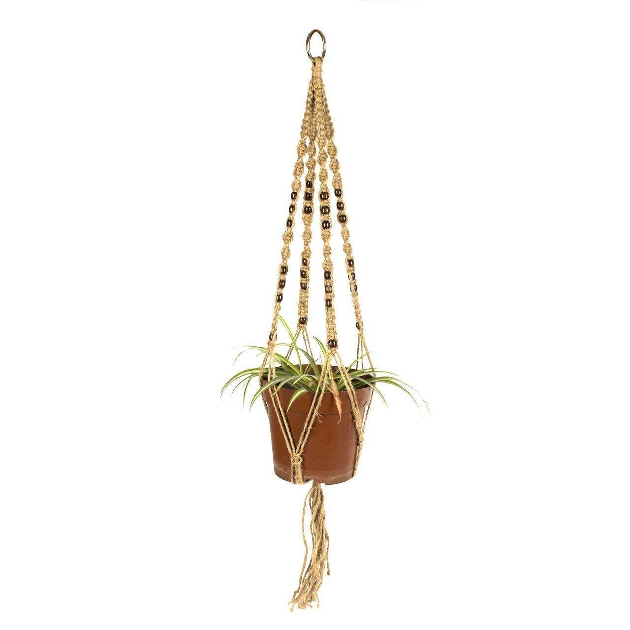 47 Inch Plant Hanger - Glamouric Decorative Pot Hanging Rope Macrame Jute with Beads 4 Legs Holding Plant Baskets Pots for Indoor Outdoor Ceiling Patio Deck Decoration