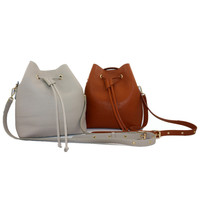 Fashion Lady Real Leather Bucket Bag with drawstring closure For Shopping