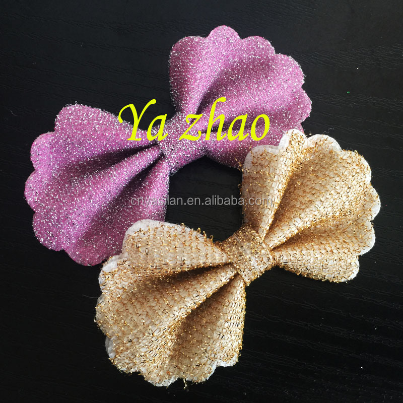 "2015 new style 3.2"" Sparkle hair bows, Glitter fabric bows Wholesale 13 colors in stock"