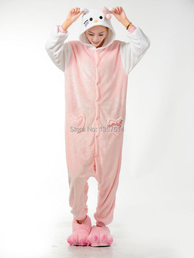 c4c8db861c Get Quotations · NEW Adult Pajamas Cosplay Cartoon Animal Onesie Sleepwear  Christmas Halloween Free Shipping Hello Kitty