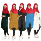 New Fashions Unique Abaya Designs Cheap Muslim Women Soild Color Polyester Kaftan
