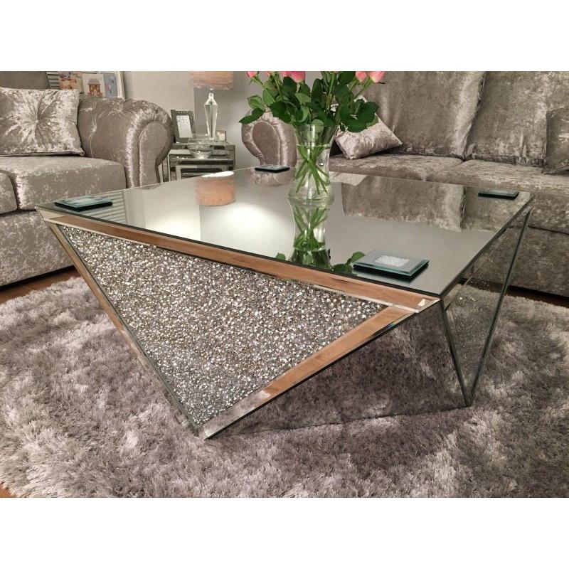 Direct Sale Luxury Crushed Diamond Square Mirrored Coffee Table Buy Fancy Mirrored Coffee Tablehome Mirrored Coffee Tablemodern Diamond Coffee
