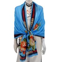 Custom Muffler 100 Long Shawl Colorful Women Satin Printing Silk Scarf