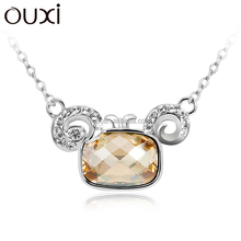 OUXI hot sale Christmas fashion crystal Aries pendant jewelry alloy necklace 10776