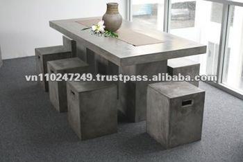 Light Cement Table Set Concrete