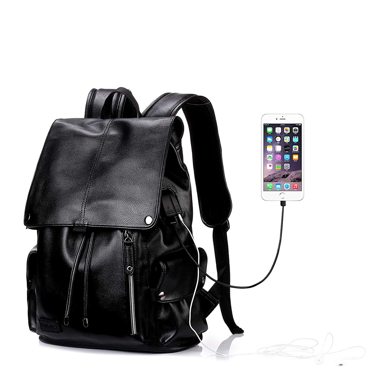 Leather Laptop Backpack with USB Charging Port & Headphone Hole College School Bookbag 18 inch for Women & Men Waterproof Travel Bag -Black