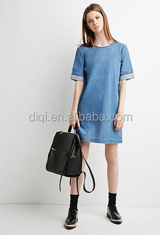 d46cdfbd996fb1 Vrouwen zomer mode denim jurken meisjes korte- mouw o- hals korte denim  jeans jurk