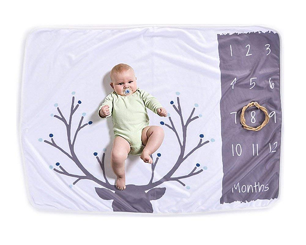 AmazingM Monthly Baby Boy Milestone Blanket Photo Blanket, 1-12 Months Baby Shower Gifts for Boy or Girl(with a Bonus Flower Frame),30''X40''