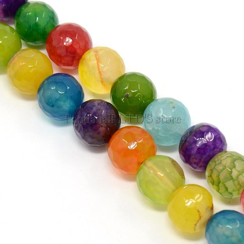 Mixed Color Natural Agate Beads Strands, Dyed, Faceted, Round, Natural Agate, 10mm, Hole: 1mm; about: 38pcs/strand, 15""