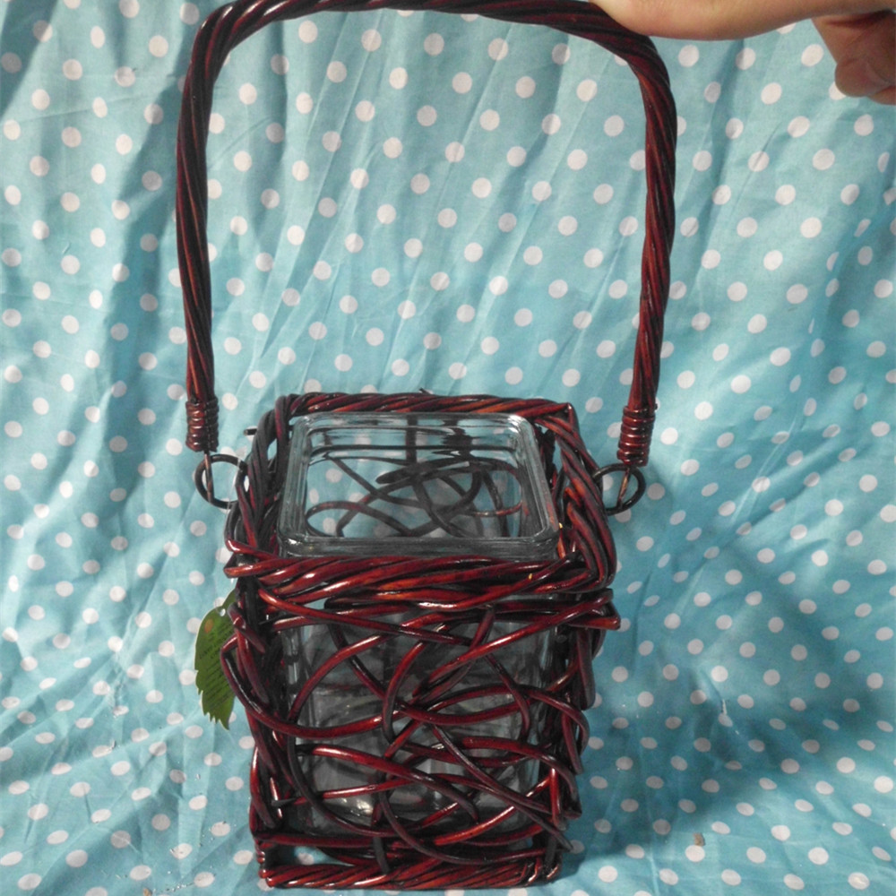 Outdoor garden decorative used red metal lantern candle holders