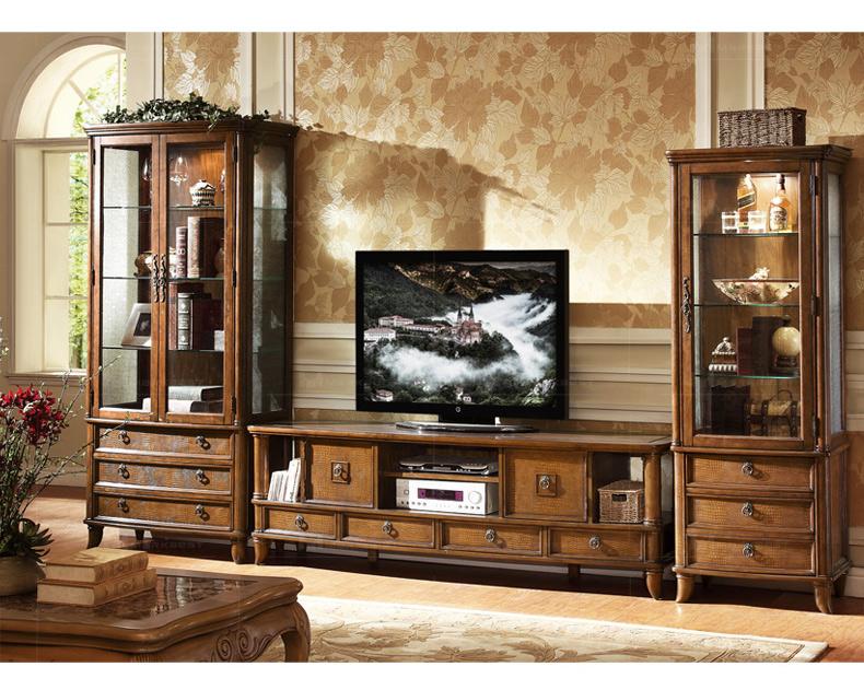 T83-02 country style vidro curvo portas duplas de madeira com gaveta frontal couro delimitadas NC acabamento sheen 30 curio
