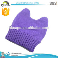 Hat Manufacturer Custom Purple Women Korea Fashion Knitted Hat
