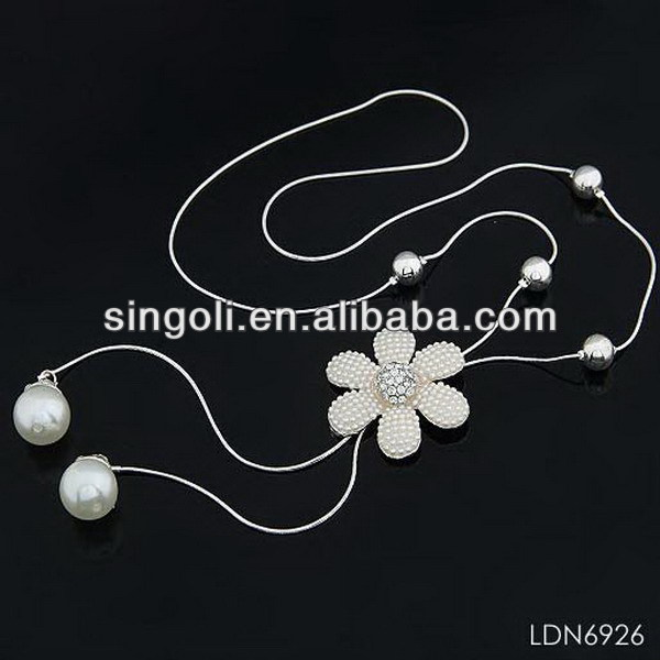 2014 seed beads pearl flower lariat necklace, princess pearl neckalce, fashion costume jewelry pearl necklace