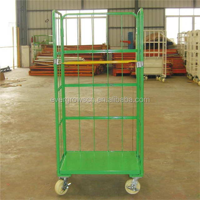 heavy duty supermarket platform trolley/roll cage with wheels
