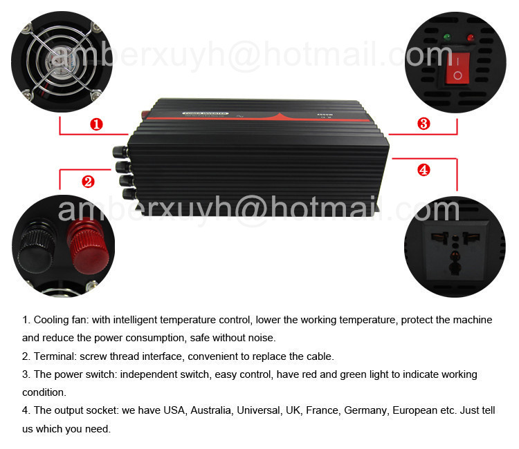 24V 230V 50HZ 4000W Pure Sine Wave DC AC Inverter