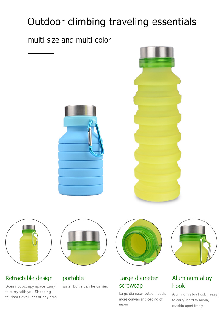 Hot Sale Outdoor Sports Bottle Foldable Collapsible Silicone Water Bottle With Custom Logo