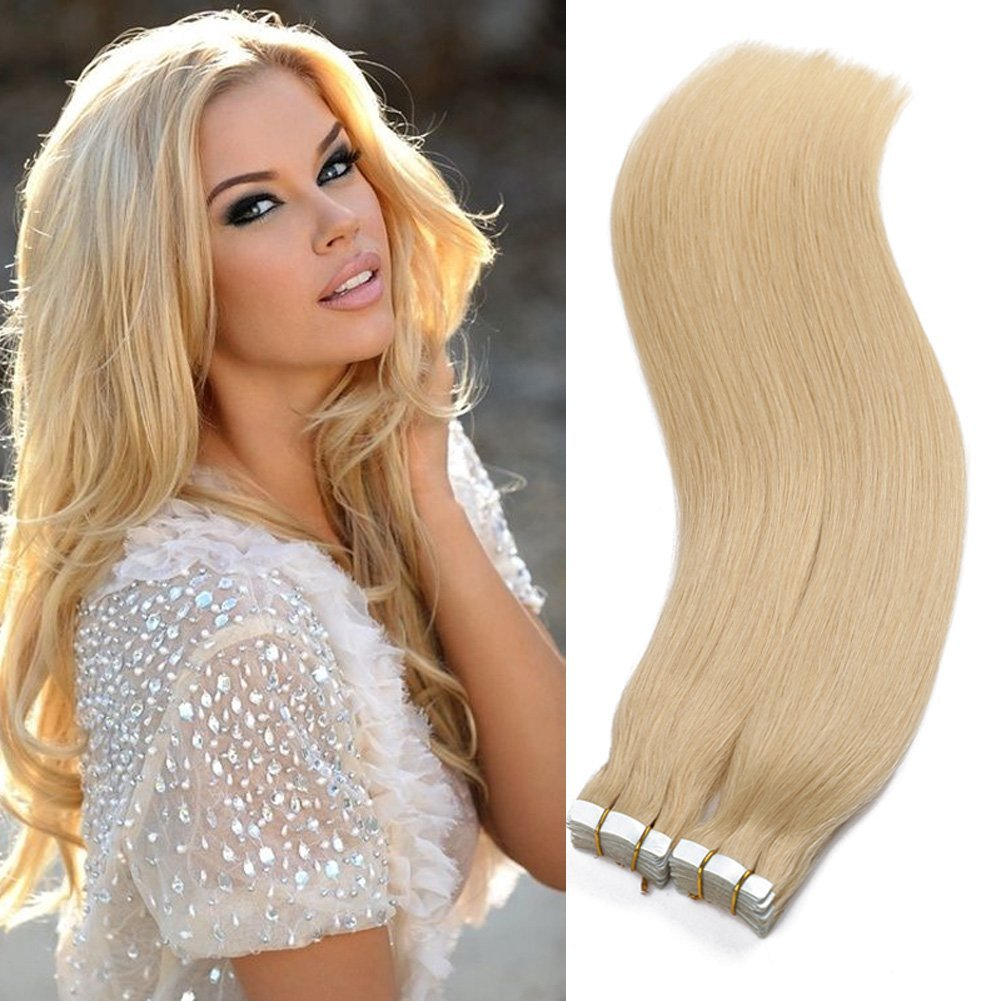 """Tape in Human Hair Extensions 16"""" 18"""" 20"""" 22"""" 24"""" 26Inch 40pcs 100g set Remy Hair Tape Hair Extensions Straight Skin Weft 100% Human Hair(26inch #613 bleach blonde)"""