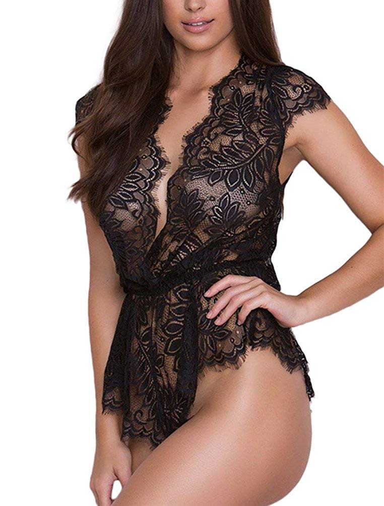 Get Quotations · Gludear Women s Sexy Lace Bodysuit One Piece Lingerie  Teddy Underwear dddcd7c70