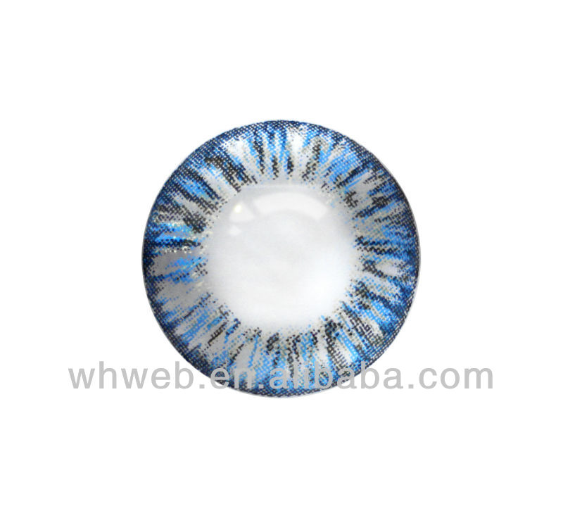 Colorful design 3 tone blue eye contact lens fresh color contact look beauty various designs available