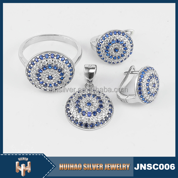 factory direct sale micro pave turkish 925 silver evil eye jewelry rhodium plated