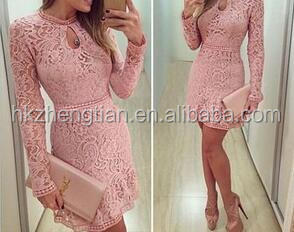 hot sale long sleeve pink lace bodycon elegant sexy party dress dress women fashion dress women