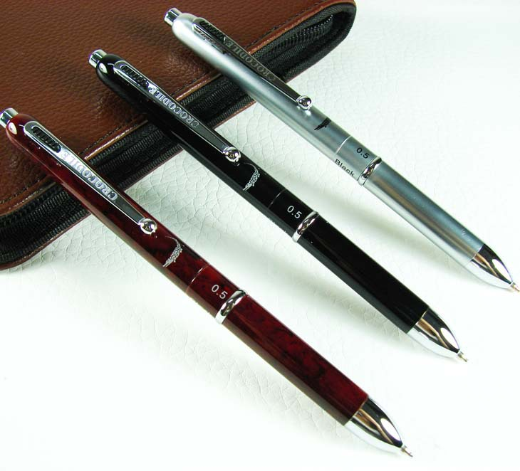 3 PCS Crocodile Multi-function Ball Point Pen , Blue ,Red ,Black & 0.5 mm Pencil G99