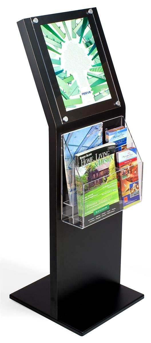 Large Black Laminate Sign Stand And Adjustable Literature Rack, 15-1/2 x 47-1/2 x 1-Inch, Displays 11 x 14-Inch Signs, (6) 4 x 9-inch Brochures, (2) 8-1/2 x 11-Inch Catalogs, Silver Satin Decorative Screw Caps, Tiered Design