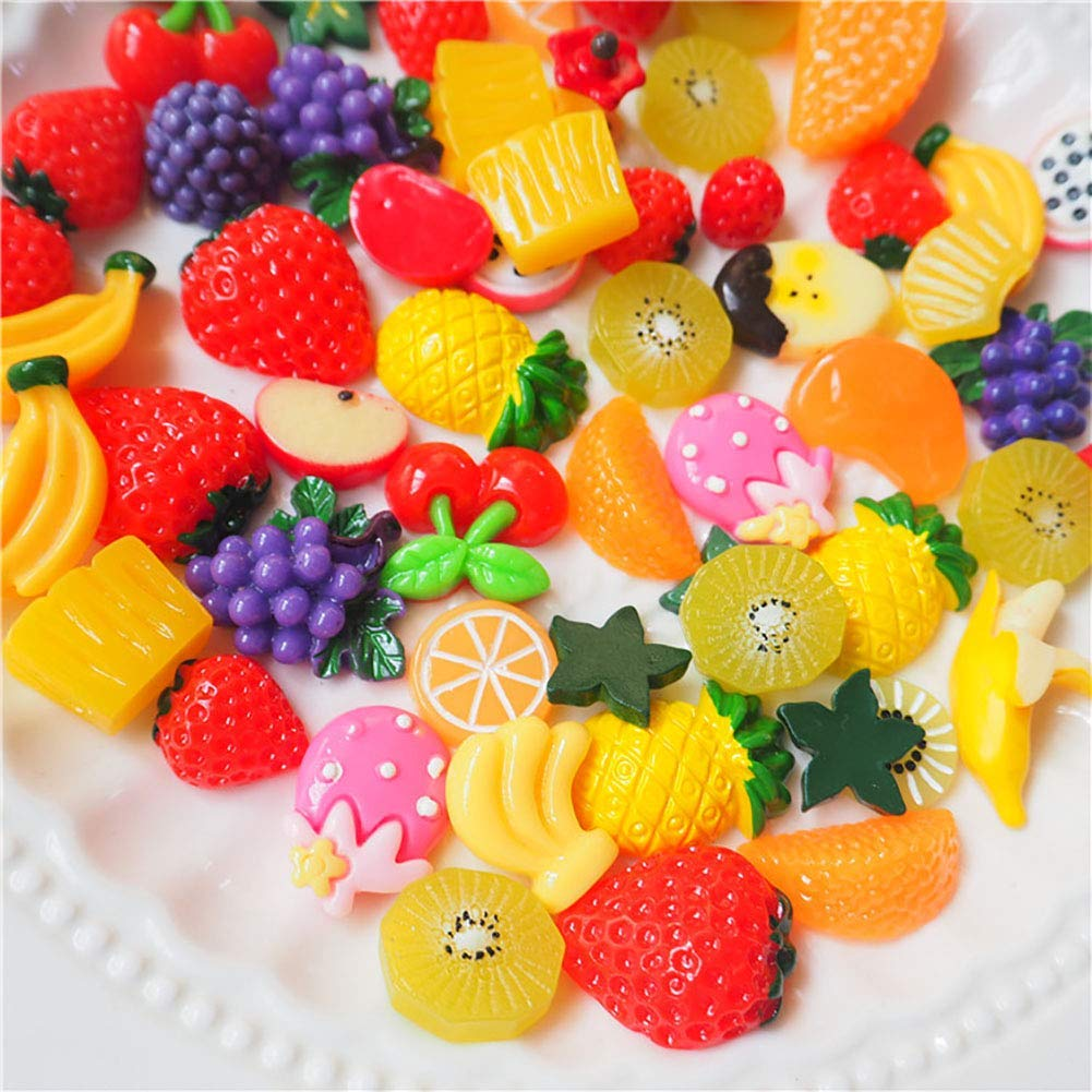 Anleymu 100 Pieces Fruit Slime Charms Mixed Sweets Colorful Candy Resin Slime Beads Making Supplies for DIY Scrapbooking Crafts