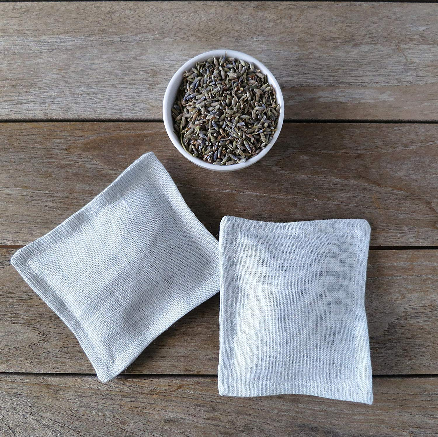 Set of Two Cloud Blue Linen Organic French Lavender Sachets
