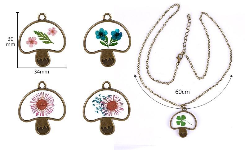 Vente chaude Coréen coloré résine bricolage médaillon verre sec champignon pendentif fleur collier bijoux