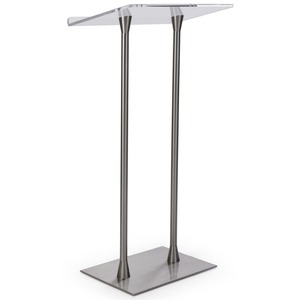 Clear Top Surface Silver Glass Church Pulpit Acrylic Podium Lectern with Steel Poles