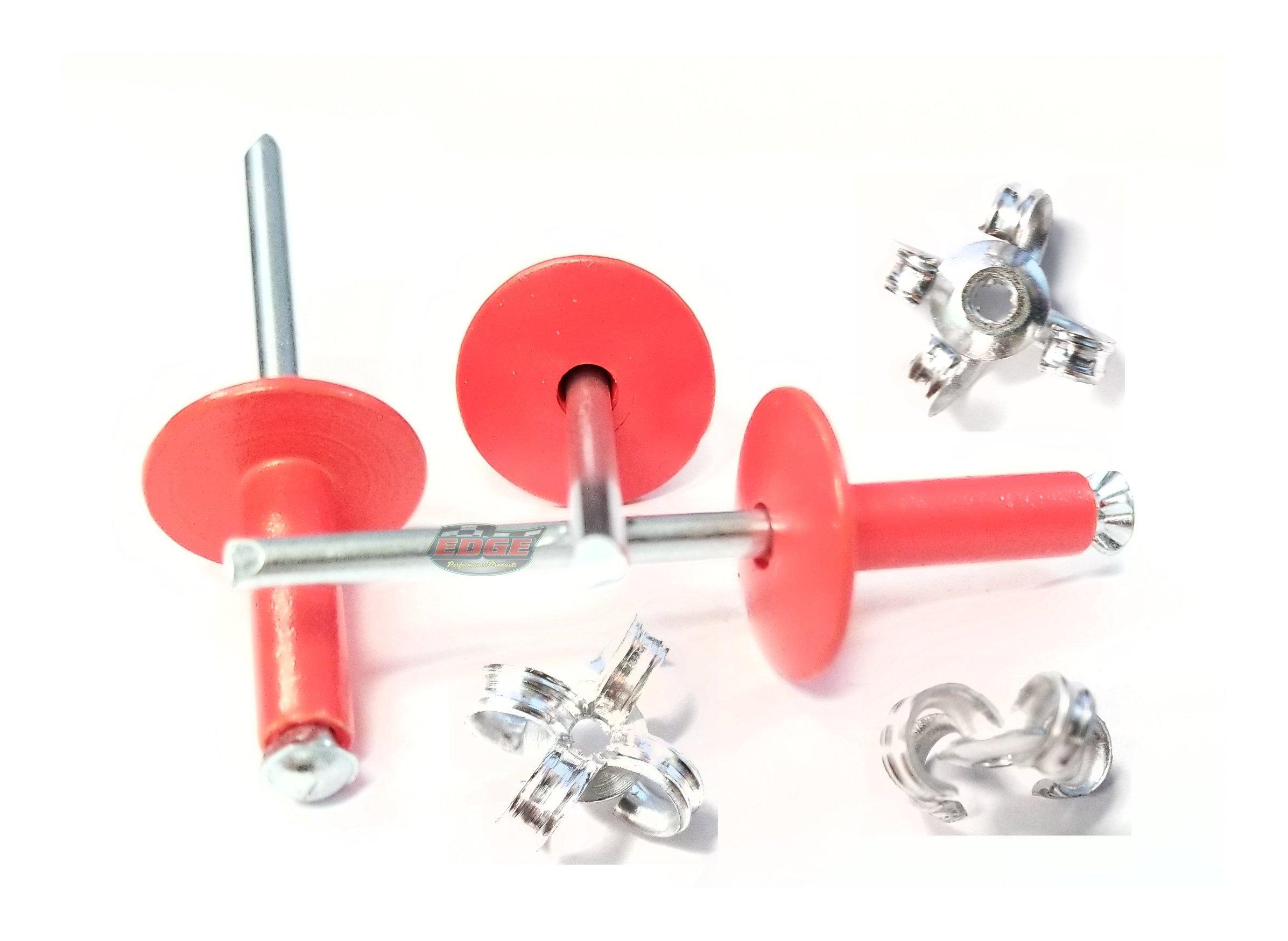 """3/16"""" Large Head Peel-Back Aluminum, Steel Mandrel Pop Rivets 250ct (Florescent Red)"""