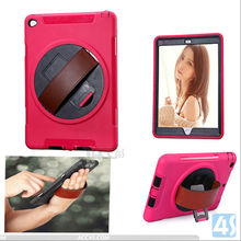 360 Rotation Anti Shock plastic case for Ipad air 2, for Ipad air 2 hand hold combo case