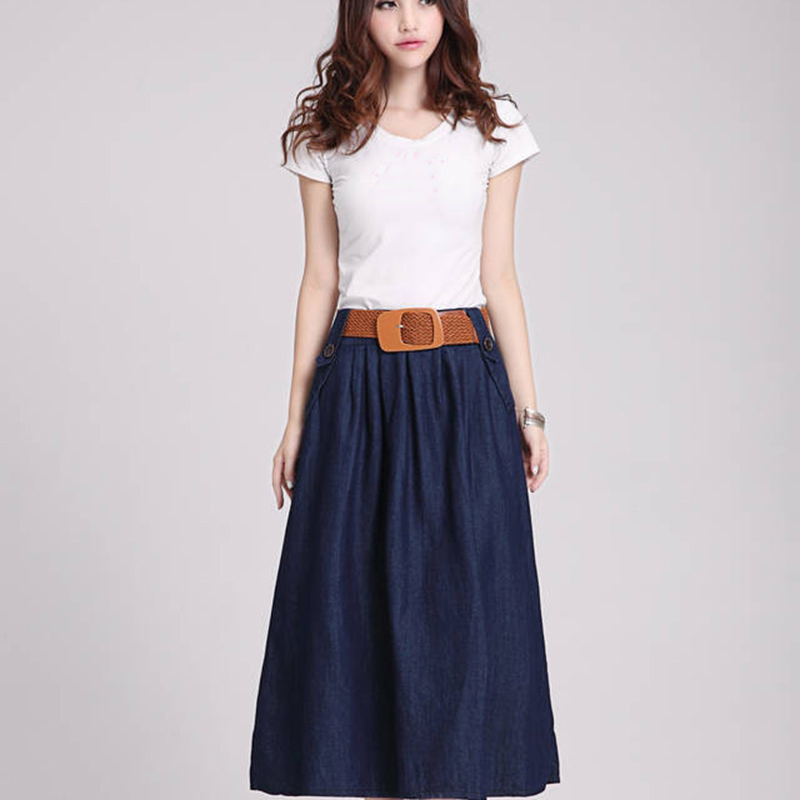 Long Denim & Corduroy Skirts. Take a look at our range of long and maxi denim skirts including classic straight skirts, flared denim skirts, stretchable long faded jeans skirts and button front skirts, so you're sure to find something you love.