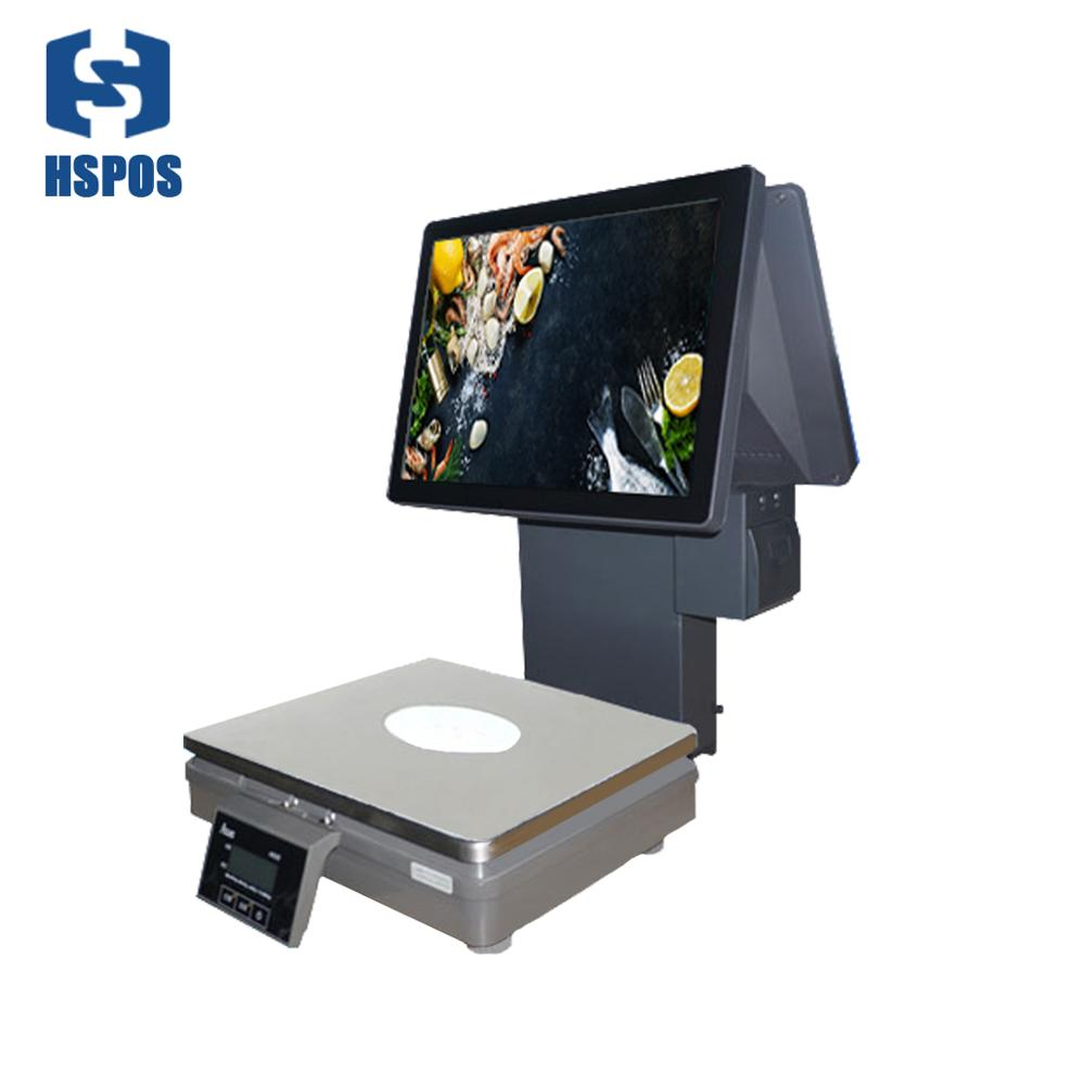 HSPOS New Dual Screen Pos Weighting <strong>Scale</strong> Touch Screen Cash Register Weighing <strong>Scale</strong> With Printer for Fruit Shops