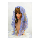 Classical Blue Church Chapel Shawl Veil Embroidery Spanish Lace Mantilla
