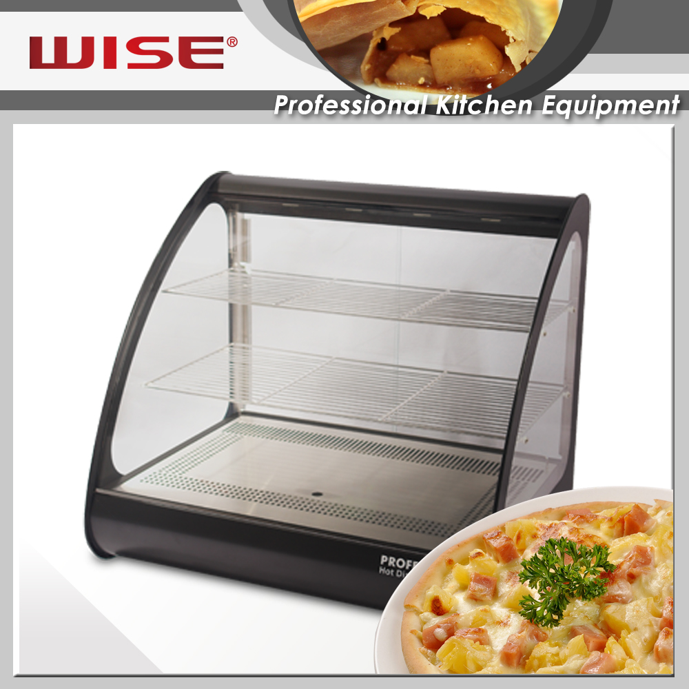 Top Performance Standard Black Mirror Steel Hot Showcase For Commerical Restaurant Use