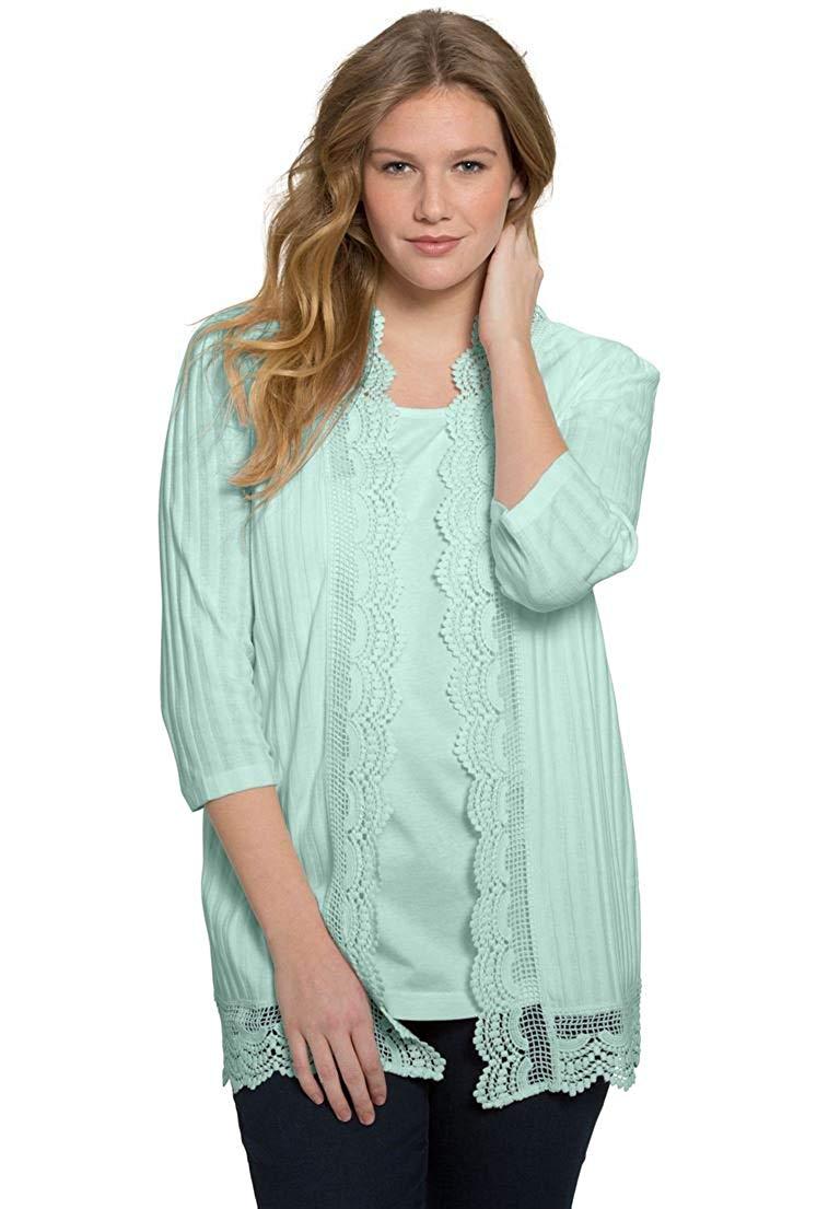 82ebd6f3e35 Get Quotations · Roamans Women s Plus Size Crochet Trim Cardigan
