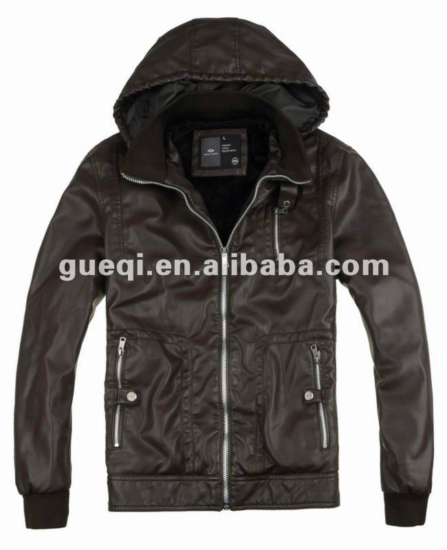 Winter pu jacket with hood for man